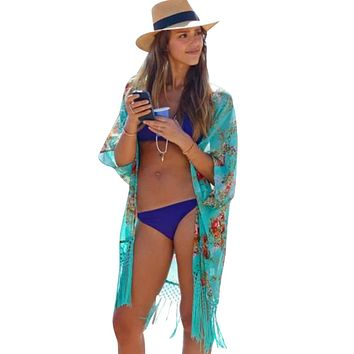 2017 Summer Women Fashion Beach Cover Up Ladies Sexy Swimsuit Bathing Suit Cover Ups Cape Kaftan Kimono Knits Beach Wear Shirt