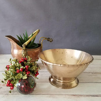 Vintage Brass Bowl/ Brass Decorative Bowl/ Brass Home Decor/ Hollywood Regency Bowl/ Bamboo/ Christmas Decor/ Brass Centerpiece/ Chinoiserie