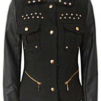Black Tweed Gold Stud PVC Sleeve Jacket