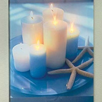 Wall Art Beach Coastal Themed LED Lit Canvas Seascapes Candles Starfish Sand NEW