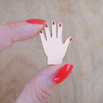Hand enamel pin - Tiny manicured hand pin - Cute manicure hand brooch - little hand pin's - hand pin s miniature hand pins mini hand brooch
