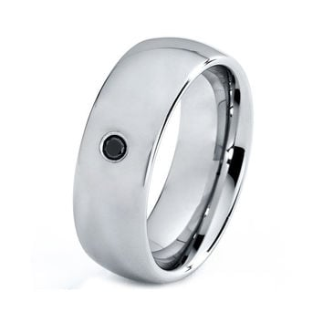 Mens Titanium Wedding Band Ring 8mm Black Diamond polished 3-16 Sizes Comfort Fit Custom Engraved