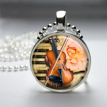Round Glass Bezel Pendant Violin Pendant Music by IncrediblyHip
