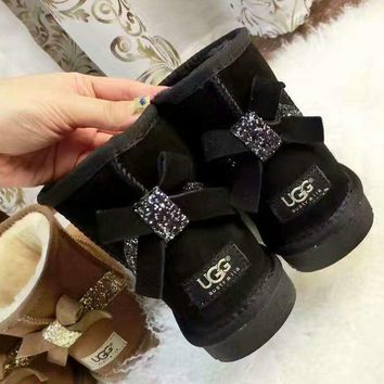 UGG:: bow leather boots boots in tube bow knot shining boots Black