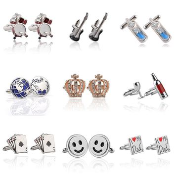 Luxury Crown, Smile Face, Earth, Poker, Wine Glass, Drum, Violin, Hour Glass & Cross Cuff link