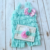 Aqua and Pink lace romper and shabby chic headband outfit set for 1st birthday party or cake smash photo shot. Perfect for girls - newborn to 5T - Your Final Touch Hair Accessories
