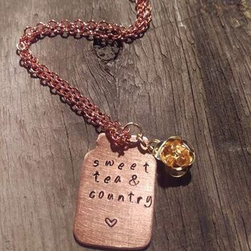 Sweet Tea & Country - Copper Mason Jar Shape Necklace with Rose Charm