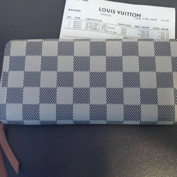 Authentic Louis Vuitton Damier Azur Clemence Long Wallet N61264