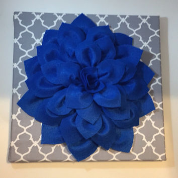 Royal blue dahlia wall hanging blue wall art flower canvas art 3d flower