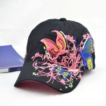 PEAPIX3 Baseball Cap Ladies Cap Korean Summer Butterfly Embroidery Cotton Hats [4989700932]