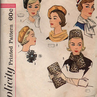 Vintage Retro Mod Fashion Simplicity 1960s Sewing Pattern Pillbox Hat Beret Scarf Purse Bag Rosette One Size