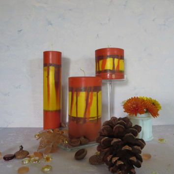 Autumn leaves soy pillar candles, scented fall eco- friendly pillar candles, autumn swirl soy pillar candles