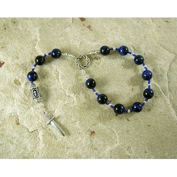 Tyr (Tiwaz) Pocket Prayer Beads in Blue Tiger Eye: Norse God of Justice, Law and War