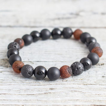 Black onyx, matte black onyx, crackled dream agate & lava stone beaded stretchy bracelet, yoga bracelet, mens bracelet, womens bracelet
