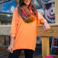 Slouchy Dolman Tunic, Orange