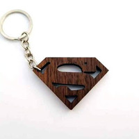 Wooden Superman Sign Keychain, Walnut Wood, Superhero Keychain, Environmental Friendly Green materials