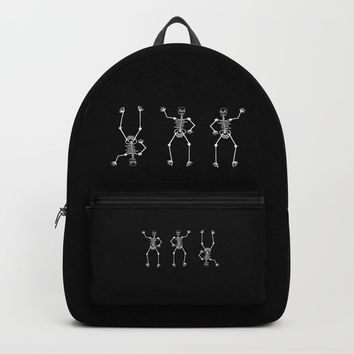 White skeleton on black Backpack by Zia
