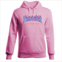 """""""Thrasher""""Thickening hoodie hooded cotton red flame - skateboard style Pink"""