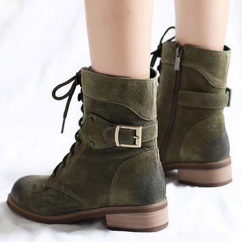 Autumn and winter new Grind arenaceous cowhide combat boot Coarse heel Martin boots