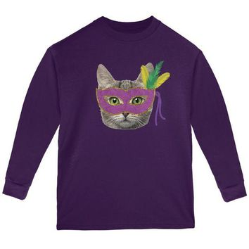 LMFCY8 Mardi Gras Mask Funny Cat Youth Long Sleeve T Shirt