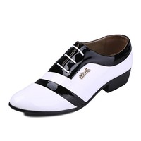 Benana New 2014 Korean Style Fashion Black and White Color Block Pointed Toe Men's Business Shoes Dress Shoes - DinoDirect.com