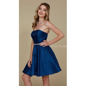 Strapless A Line Mikado Homecoming Dress Navy Blue Pockets
