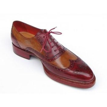 Paul Parkman Men's Wingtip Oxfords Goodyear Welted Red Camel
