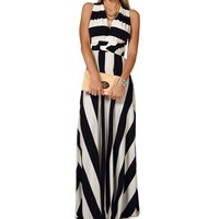 Sale- Striped Convertible Maxi Dress