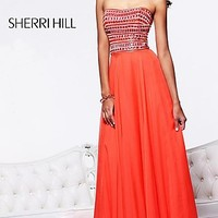 Sherri Hill Strapless Beaded Evening Gown
