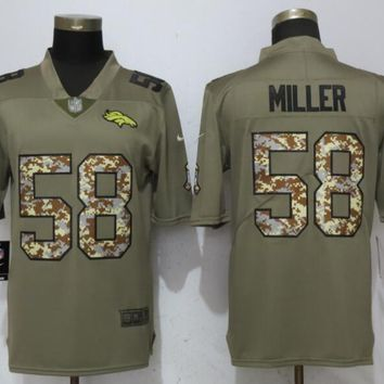 NEW Nike Denver Broncos 58 Miller Olive/Camo Carson 2017 Salute to Service Limited Jersey