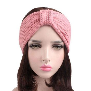 Head Wrap Headband Women Knit Hair Accessories Solid Bow Handmade (7 colors)