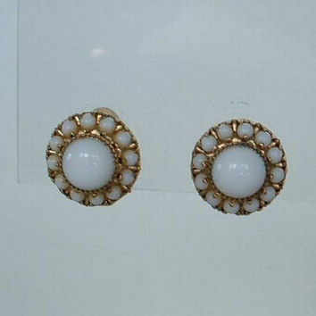 Vargas White Glass Screw Earrings Cabochon Seed Beads Designer Vintage Jewelry
