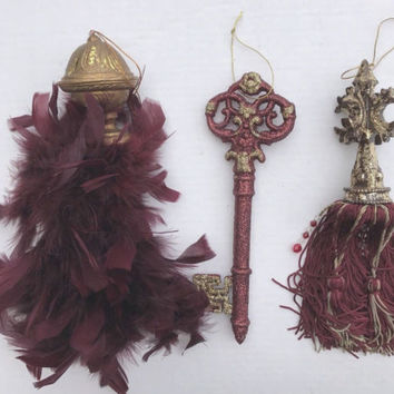 Feather Tassel Burgundy Wine Glitter Key Ornament Set