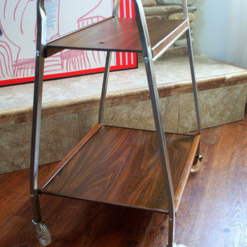 50s MID CENTURY TV Cart Retro Vintage Rolling Metal Cart with Lucite Wheels and 2 Shelves Mid Century Modern Furniture Chicago
