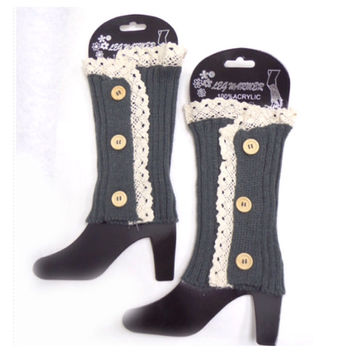 Lace Button Accent Grey Boot Toppers, Boot Cuffs