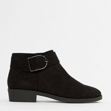 New Look Buckle Flat Ankle Boot at asos.com