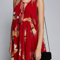 Red Plunge V-Neck Floral Lace Up Back Split Dress