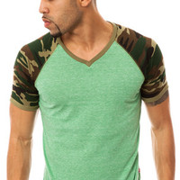 Men's V-Neck Camo Raglan Tee