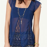 Lace Butterfly Babydoll Top