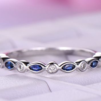 Maquise Blue Sapphire / Diamond Wedding Band Half Eternity Anniversary Ring 14K White Gold