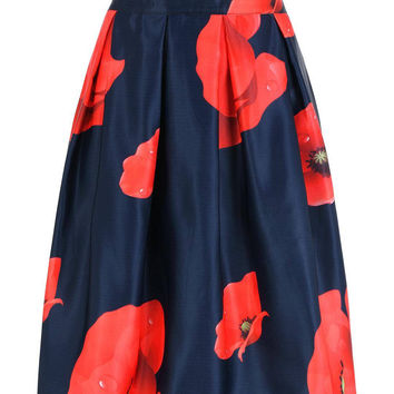 Midnight Blue High Waisted Red Flower Print Full Skirt