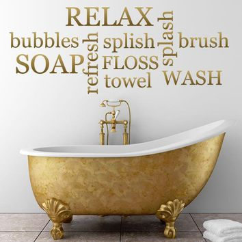 DSU Gold Wall Sticker Relax Bathroom Wall Sticker For Tile Waterproof Vinyl Wall Decals Vinilos Paredes Mural Free Shipping A039