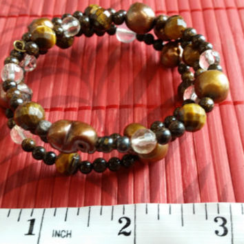 Stability and balance - Handmade bracelet made with Bronze freshwater Pearls and faceted Tiger's Eye + others stones, Reiki infused MJM