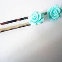 IVORY ROSE Bobby Pin SILVER Metal Hair Clip Resin Flower Bridesmaid Hair in Pastel Yellow