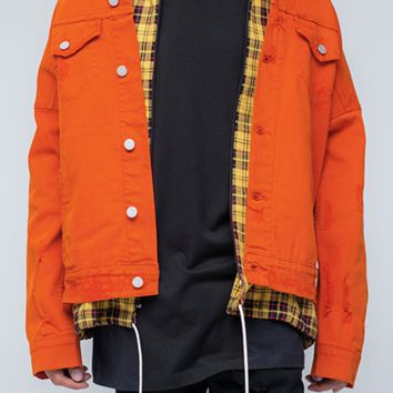 Delta - Orange Selvedge Denim Jacket
