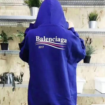 Balenciaga New fashion hoodie with wavy stripes and long sleeves men and women top Sapphire blue