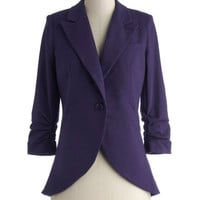 ModCloth Menswear Inspired Mid-length 3 Fine and Sandy Blazer in Violet