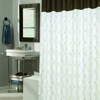 "Royal Bath Diamond Design Balmoral Fabric Shower Curtain in Brown/Blue Size: 70"" x 72"""