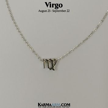 VIRGO | Zodiac | Astrology Collection: 18K White Gold PL | Birth Sign Necklace