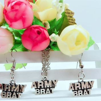 Army Brat Necklace and Earring Jewelry Set